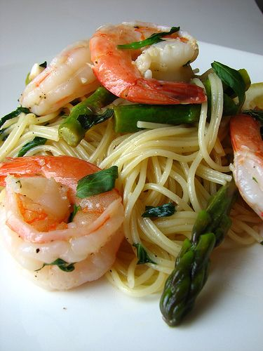 spaghetti gamberi asparagi